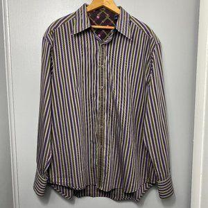 ROBERT GRAHAM Purple Striped Button Down Shirt